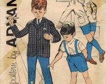 1960s Advance 9640 UNCUT Vintage Sewing Pattern Boys Suit, Tailored Jacket, Pants, Shorts, Suspenders Size 4