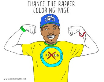 Chance The Rapper Adult Coloring Page, Rapper Coloring Book, Digital Download Printable Coloring Page, Custom Illustration