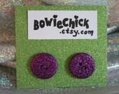 Large Purple Glitter Button Earrings, Stud Earrings, Surgical Steel Posts