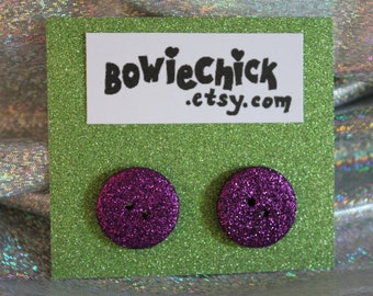Large Purple Glitter Button Earrings, Stud Earrings, Surgical Steel Posts