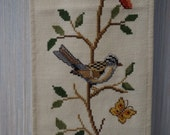 Vintage Cross Stitch Embroidery Bird Bell Pull
