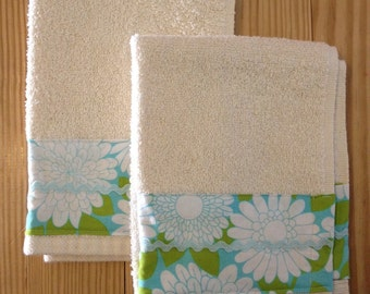 Towels- set of two Cotton Terry Fingertip Hand Towels - Blue Green Floral - Ready to Ship