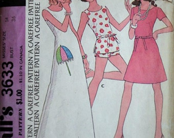 Vintage 70's Easy McCall's 3633 Sewing Pattern, Misses' Dress or Top and Pants, Size 14, 36 Bust, Retro Mod 1970's Summer Fashion
