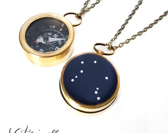 Libra Zodiac Constellation Necklace, Small Working Compass, Brass Chain, Pocket Compass, Bridal Party, September October Birthday Gift