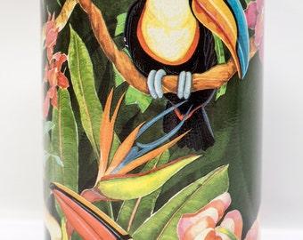 Exotic toucan tea tin