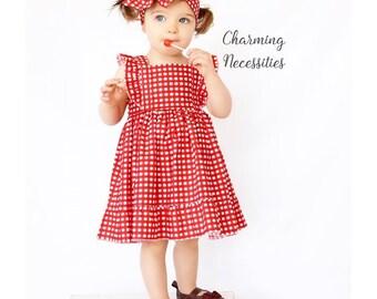 Flower Girl Dress, Toddler Girl Clothes, Girls Beach Dress, Toddler Dress, Heirloom Flutter Sleeve Dress, Red Gingham Charming Necessities