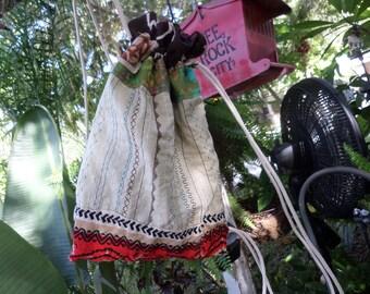 Hippie Backpack, Hippie Back Pack, hippie back sack, festival bag, boho back pack, drawstring back pack,  recycled fabric, small, C42,  hobo