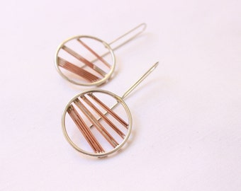 Round earrings  made of Sterling silver and copper, lightweight and comfortable to wear