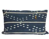 Vintage African Indigo Mudcloth - Baule Ikat Stripe - Lumbar Pillow