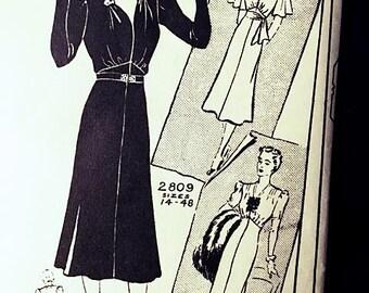 1930s Dress Pattern . Vintage Mail Order 2809 . Unprinted Sewing Pattern Size 20 BUST 38 WAIST 32 Hip 41 . 30s Orig Pre Cut . Paper Ephemera