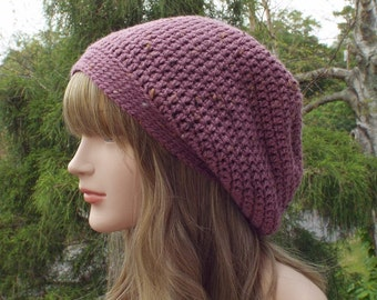 Mauve Purple Slouchy Beanie, Womens Crochet Hat, Tweed Slouch Beanie, Oversized Hipster Hat, Slouch Hat, Baggy Beanie, Slouchy Hat
