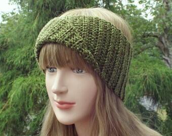 Green Yoga Headband, Womens Head Wrap, Athletic Hair Band, Crochet Head Band, Workout Headband, Turban Head Wrap, Boho Headband