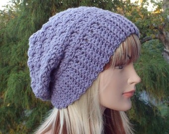 Dusty Lilac Purple Crochet Hat, Womens Slouchy Beanie, Slouchy Hat, Oversized Slouch Beanie, Chunky Hat, Slouch Hat, Winter Hat