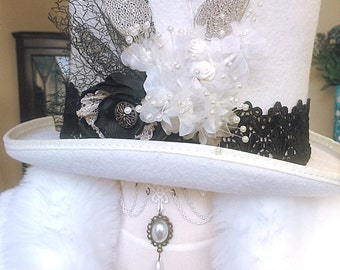 Black and white steampunk top hat