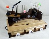 Ambidextrous Fly-Tying Desk, Hickory and Walnut