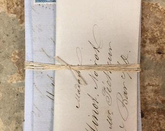 5 Antique French Love Letters Paris Calligraphy Script Lot A
