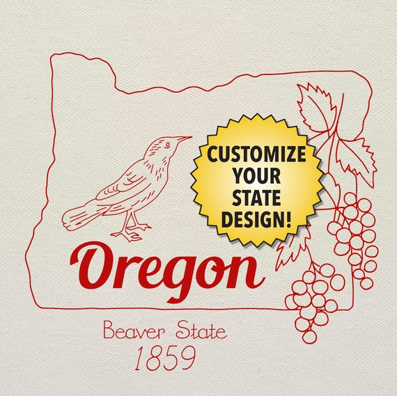Oregon customizable hand embroidery pattern digital pdf