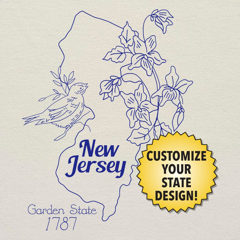 New jersey customizable hand embroidery pattern digital