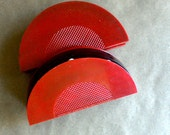 Vintage Playing Card Holders Art Deco Design Red and Black Click Canasta Bridge Poker Games Pieces Original Boxes