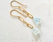 Mermaid's Tears Earrings - aquamarine earrings, hammered chain dangle earrings, aquamarine slice earrings, aquamarine dangle earrings