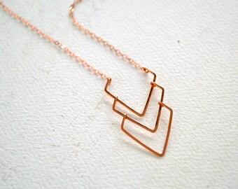 Currents Necklace - triple chevron dangle necklace, handmade chevron necklace, nautical jewelry, modern metalsmith chevron necklace