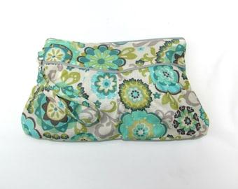 Wristlet Clutch, Wristlet Bag, Zipper Pouch, Clutch Purse, Clutch Bag Wristlet Teal Flowers, Wristlet Pouch, Wristlet Wallet Ready to Ship