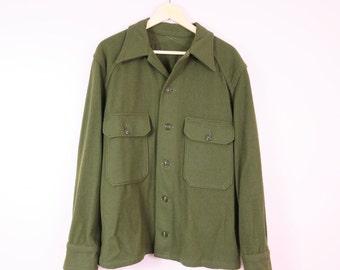 Vintage Military Coat | 1960s Wool Military Field Jacket Men's L Women's XXL
