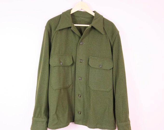 Vintage Military Coat   1960s Wool Military Field Jacket Men's L Women's XXL
