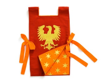 Knight Tunic - Gold Phoenix Costume - Gold Eagle Costume -  Red Eagle Knight Tunic - Holiday Present for Kids - Gift for Boys