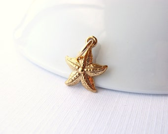 Gold Starfish Charm, Bronze Starfish Charm, Gold Bronze Starfish Charm, Gold Beach Charm, Starfish Charm, 13mm, (1), 10% off use code SAVE10
