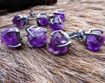 SEMI-ANNUAL SALE Amethyst studs   Raw amethyst earrings   Birthstone earrings   Post earrings   Amethyst crystal earrings   Brazilian jewelr