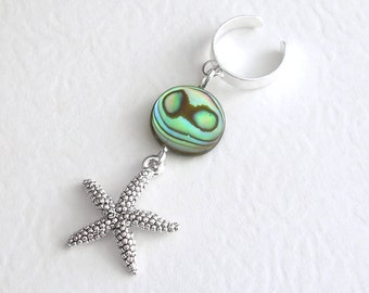 Starfish Ear Cuff, Ocean Cuff Earring, Abalone Shell Jewelry, Gifts Under 10