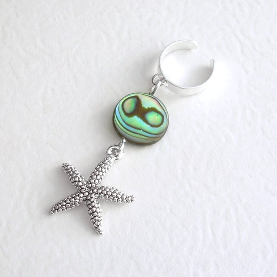 Starfish Ear Cuff, Ocean Cuff Earring, Abalone Shell Jewelry