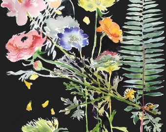Botanical on Black #1 Giclee print by Gretchen Kelly