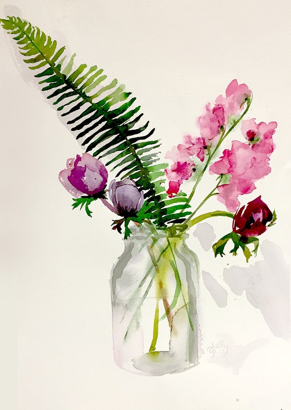 Watercolor painting -Anenomies, Sweetpeas + Fern - original watercolor flower painting