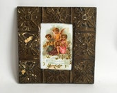 """AUTHENTIC Repurposed Tin Ceiling 5"""" x 7"""" Shabby Chic Taupe Picture Frame Reclaimed Photo 204-16"""