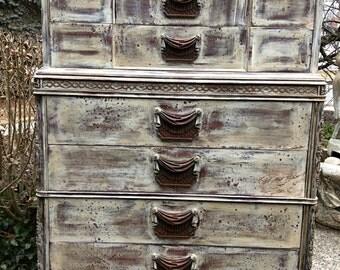 SOLD Vintage Dresser - Painted White Dresser - French Dresser - Painted Dresser - Bohemian Dresser - Shabby Chic Dresser - White  Dresser