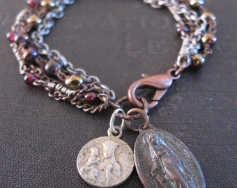 Catholic Medallion Bracelet with Upcycled Rosary Beads - Saint Anne and Miraculous Mary