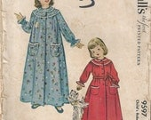 50s McCalls 9597 Girls Robe Sewing Pattern Size 4