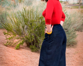 Hey Sailor 1930s style wide leg pants in CHAMBRAY Small M