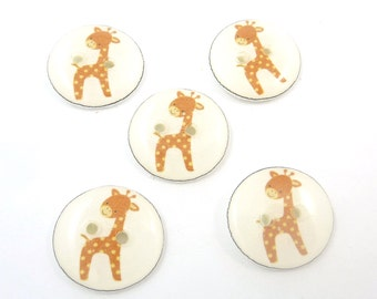 "5 Brown Giraffe Buttons.  Handmade Buttons.  Sewing Buttons. 3/4"" or 20 mm."