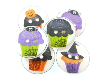 "6 Halloween Cupcake buttons. Handmade buttons. 3/4"" or 20 mm.  Witch, Spider, Pumpkin Cupcake  Sewing buttons. Washer and Dryer Safe."