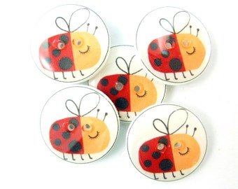 """5 Lady Bug or Lady Bird Buttons. Handmade Buttons.  Sewing, knitting or needle craft buttons. 3/4"""" or 20 mm."""