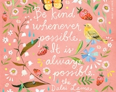 Pink Be Kind art print | Dalai Lama Quote | Floral Painting | Katie Daisy | 8x10