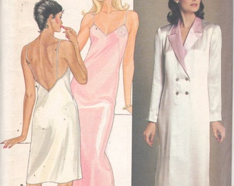 Butterick 4870 1980s Misses Nightgown Negligee Double Breasted Robe Pattern Womens Vintage Sewing Pattern Size Small Bust 31 32 UNCuT