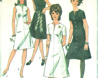 1970s  Simplicity 9221 Jiffy Misses A Line Dress Pattern Classic Design Womens Vintage Sewing Pattern Size 12 Bust 34 OR Miss Petite 14 B 36
