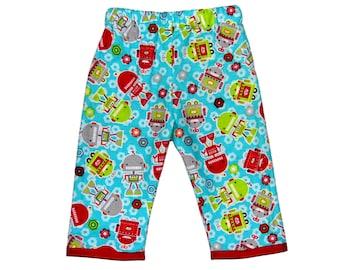 Retro Robot  - Robot Pants - Blue Pants - Red Pants - Boy Pants - Toddler  Pants - Cotton Pants - Flannel Pants - 2t - Last Pair