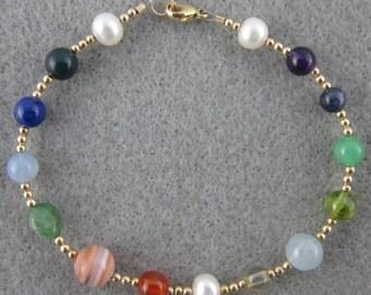 New Jerusalem Bracelet with real gemstones, 12K gold-filled or sterling silver
