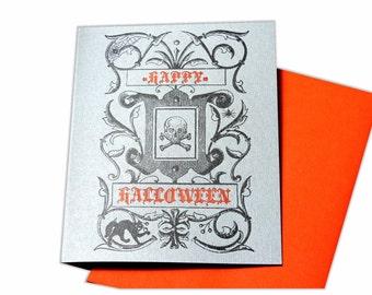 Happy Halloween Skull Letterpress Card with cat and crossbones