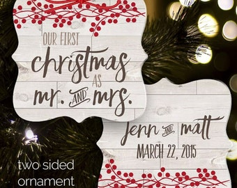 First Christmas mr and mrs rustic ornament - keepsake newlywed ornament